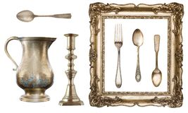 Vintage dishes. Old spoon, fork, knife, kettle, frame on white background. royalty free stock photo