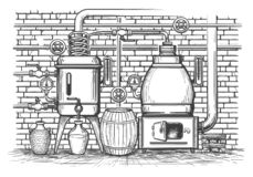 Vintage distillation equipment vector illustration