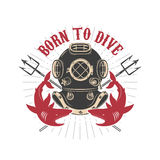 Vintage diver helmet with trident and sharks Royalty Free Stock Photography