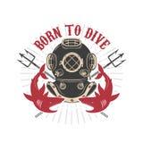 Vintage diver helmet with trident and sharks. Design elements for logo, label, emblem, sign Royalty Free Stock Photography