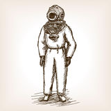 Vintage diver man with diving dress sketch vector Royalty Free Stock Images
