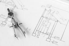Vintage divider on technical drawing Royalty Free Stock Image