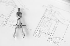 Vintage divider on technical drawing Stock Photo