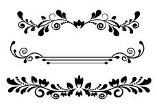 Vintage dividers and borders. Vintage black patterned dividers and borders on a white background Stock Photo