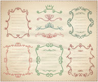 Vintage dividers and frame lists collection on a paper Stock Images