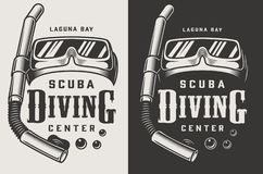 Vintage diving center monochrome logotypes. With mask and snorkel isolated vector illustration stock illustration