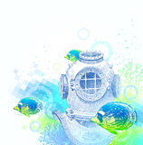 Vintage diving helmet and tropical fishes Stock Images