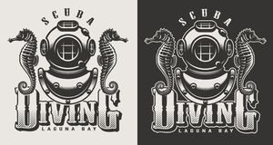 Vintage diving labels. Vintage diving center monochrome logotypes with mask and snorkel isolated vector illustration stock illustration