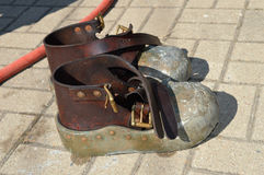Vintage Diving Shoes. Pair of vintage diving shoes after working submergence royalty free stock image