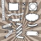 Vintage diy design elements. Vector drawing set of frames, ribbons, badge. Royalty Free Stock Photos