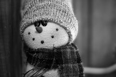 Vintage do boneco de neve preto e branco Fotos de Stock