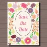 Vintage do convite do casamento do outono no fundo de madeira ilustração stock