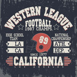 Vintage do futebol de Califórnia, gráficos do t-shirt ilustração do vetor