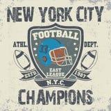 Vintage do futebol de New York, gráficos do t-shirt ilustração royalty free