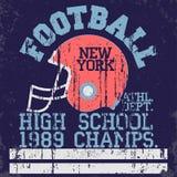 Vintage do futebol, gráficos do t-shirt ilustração royalty free