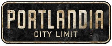 Vintage do grunge do sinal do limite de cidade de Portland Oregon Portlandia imagem de stock royalty free