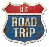 Vintage do sinal da estrada da viagem por estrada ilustração stock