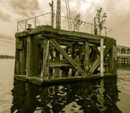 Vintage Docking Bay B. Old wooden docking bay in Cardiff Bay Wales Royalty Free Stock Photos