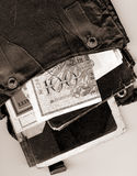 Vintage documents. And money in old bag Royalty Free Stock Photos