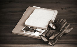 Vintage documents with magnifying glass Stock Image