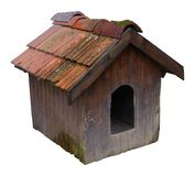 Vintage dog house. Old rotten vintage dog house over white Royalty Free Stock Image