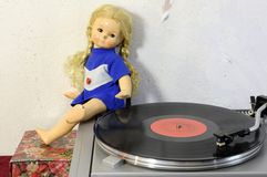 Vintage doll and turntable Stock Photo
