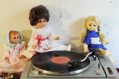 Vintage dolls and turntable Stock Photos