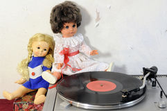 Vintage dolls and turntable Royalty Free Stock Image