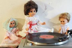 Vintage dolls and turntable Stock Photography