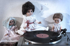 Vintage dolls and turntable Stock Images