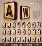 Vintage Domino Style Alphabet 3D. With distressed antique look. Shadows are transparent so ready to be placed everywhere Royalty Free Stock Photos