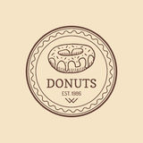 Vintage donut logo. Retro sweet bakery label. Muffin sign. Vector cookie poster. Hipster pastry icon. Desert sign. Royalty Free Stock Photos