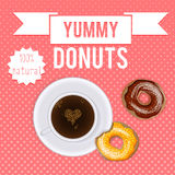 Vintage donuts and coffee cartoon poster, package design Royalty Free Stock Images
