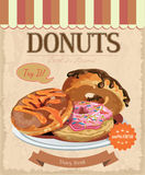 Vintage Donuts Poster. Vector illustration. Royalty Free Stock Photography