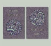 Vintage doodle card template set. Vector illustration vector illustration