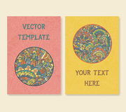 Vintage doodle card template set. Vector illustration Royalty Free Stock Images