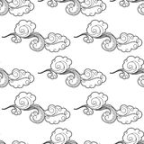 Vintage doodle cartoon clouds seamless pattern Stock Photography