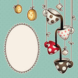 Vintage doodle coffee chocolate cups, cookies and sugar. Vector illustration Royalty Free Stock Image