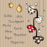 Vintage doodle coffee chocolate cups, cookies and sugar. Vector illustration Royalty Free Stock Images