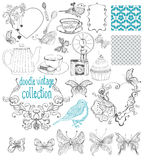 Vintage doodle elements - pattern, flower, butterfly and other f Stock Photos