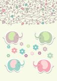 Vintage doodle elephant for frame wallpaper vector Royalty Free Stock Photo