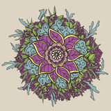Vintage doodle flower. Vector illustration. Royalty Free Stock Images
