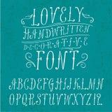 Vintage  doodle  font. Hand drawn vintage  ABC letters. Lovely doodle decorative font for your design Royalty Free Stock Image