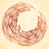 Vintage doodle leaves ornate circle frame Royalty Free Stock Photo