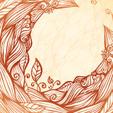 Vintage doodle leaves ornate circle frame Royalty Free Stock Photos