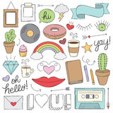 Vintage Doodle Objects Royalty Free Stock Photos
