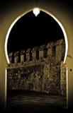 Vintage door. Vintage arabian door,seeing the wall at night Stock Photography