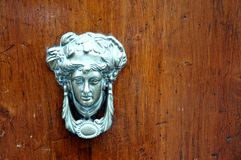 Vintage door with brass knob royalty free stock image