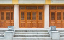 Vintage door Chinese style architechture. In Shanghai, China brown royalty free stock image