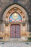 Vintage door. Entrance to the cathedral at Vysehrad Royalty Free Stock Image